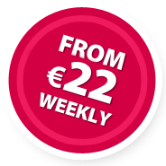 From 22 EURO weekly